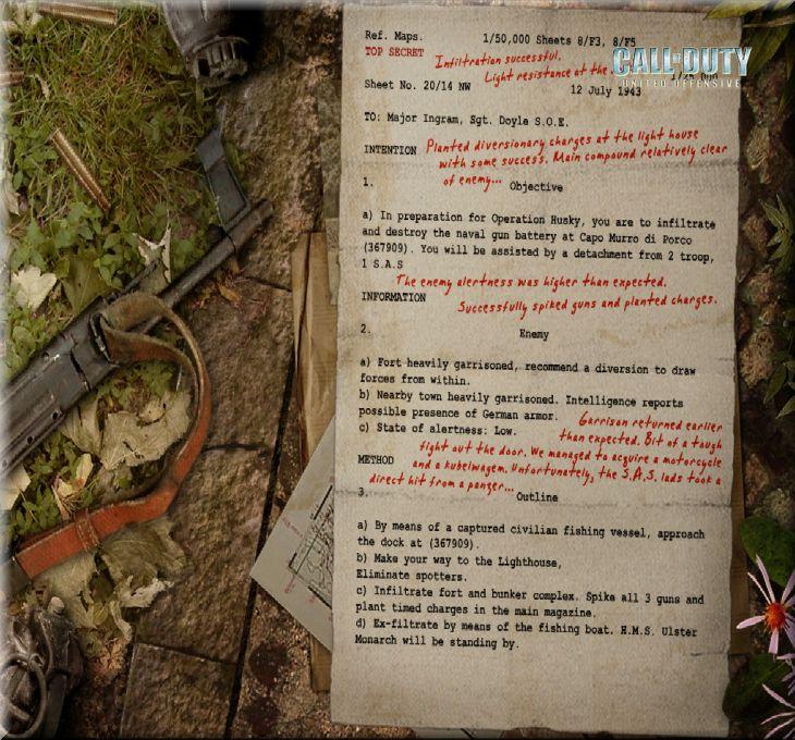 Call of Duty United Offensive Map Sicily Harekat Emri Sonuç Raporu
