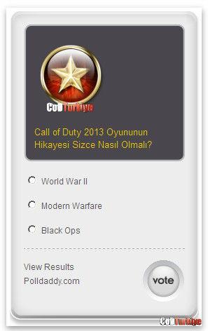 Anket, Call of Duty 2013 Senaryosu Ne Olmalı
