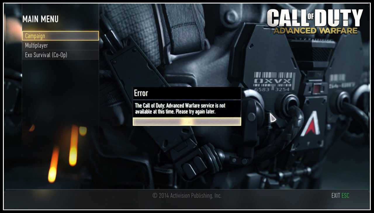 Call of Duty Advanced Warfare Service is Not Available at This Time Error