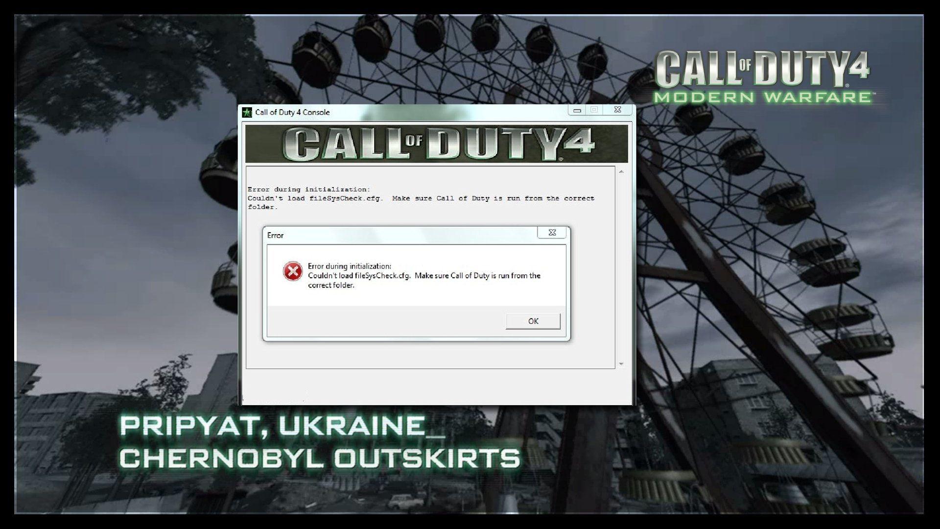 Call of Duty 4 Modern Warfare FilesSysCheck.cfg Error