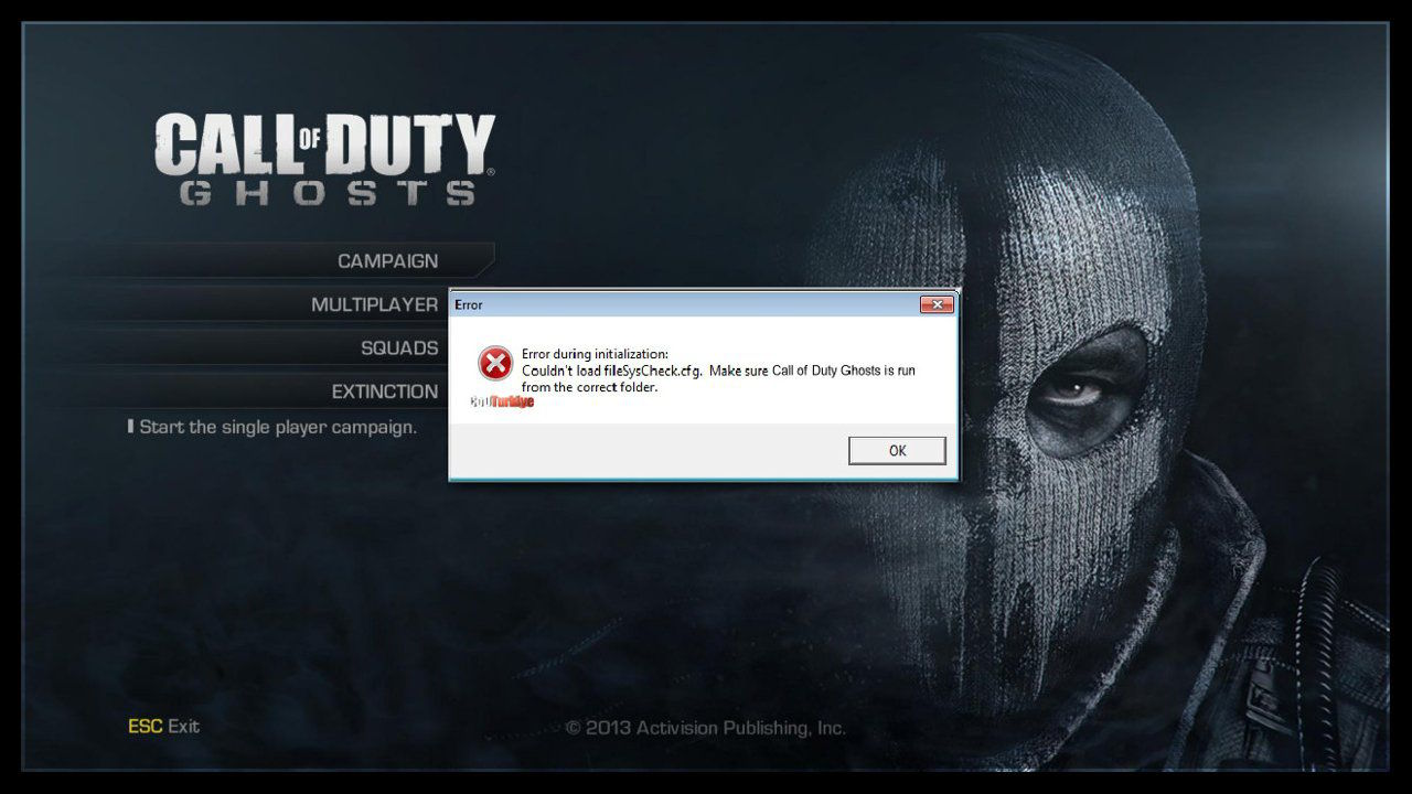 Call of Duty Ghosts FilesSysCheck.cfg Error