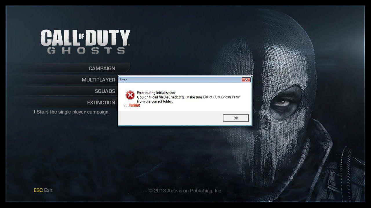 Call of Duty Ghosts FilesSysCheck.cfg Error