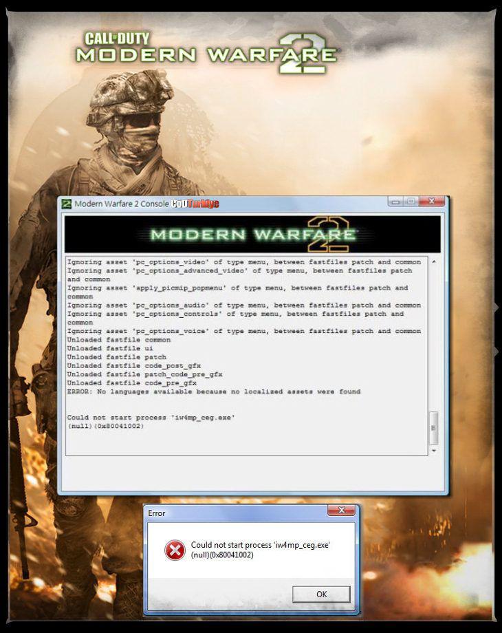 Modern Warfare 2 Could Not Start Process 'iw4mp_ceg.exe' Hatası