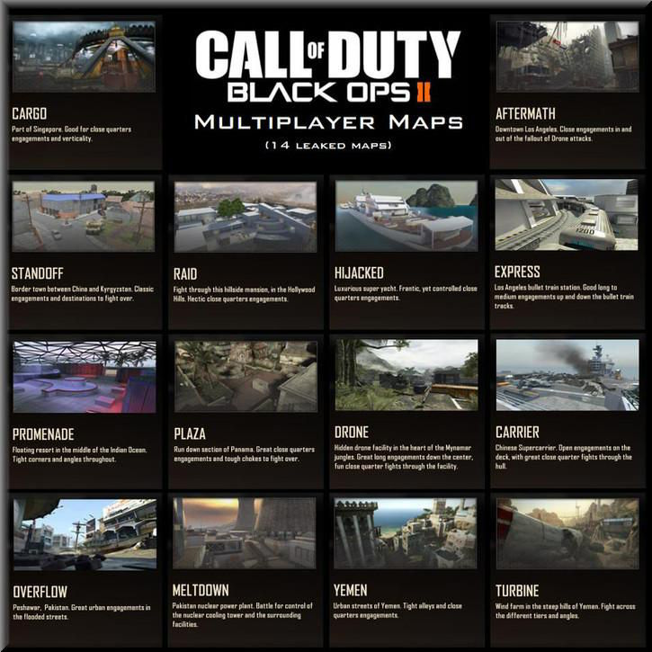 Call of Duty Black Ops 2 Stock Maps list