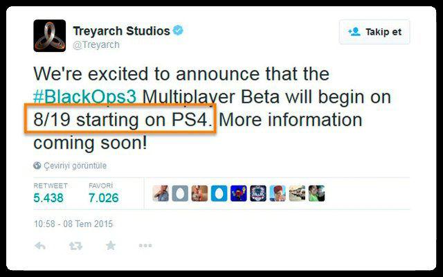 Black Ops 3 Beta PS4 İçin Başlıyor