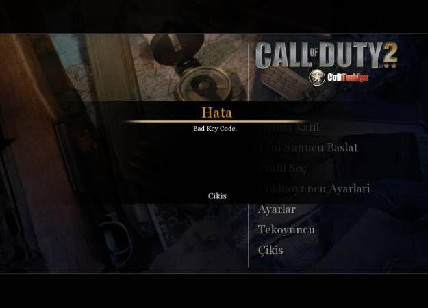 Call Of Duty 2 Bad Key Code Hatası