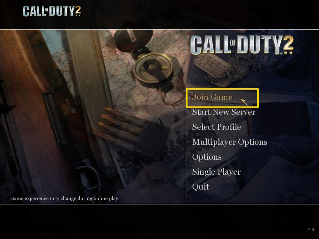 Call of Duty 2 Multiplayer Join Game Menu
