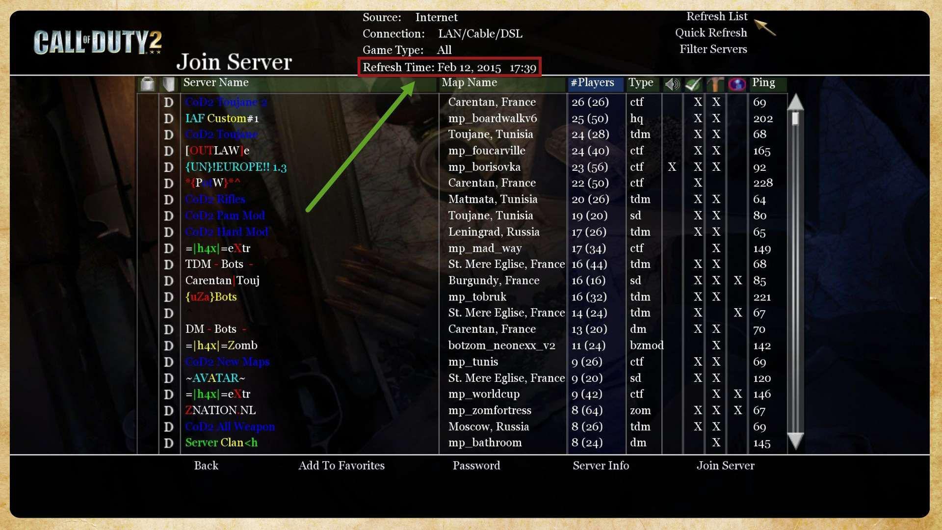 Call of Duty 2 Multiplayer Sunucular Aktivite Durumu
