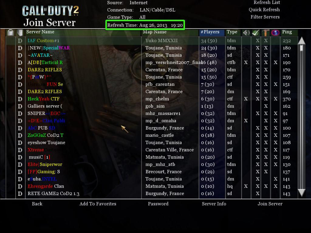 Call of Duty 2 Multiplayer Online Server Listesi