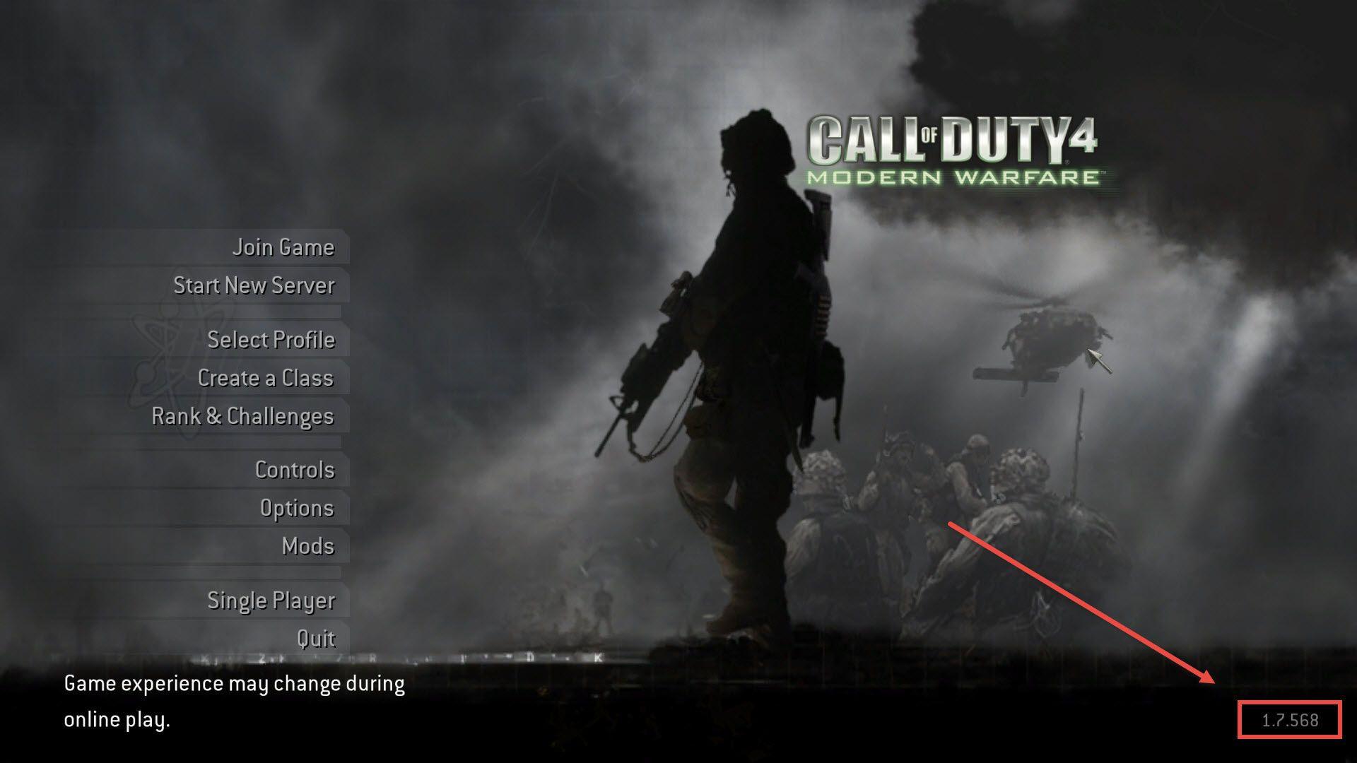 Call of Duty 4 Multiplayer Versiyon Numarası