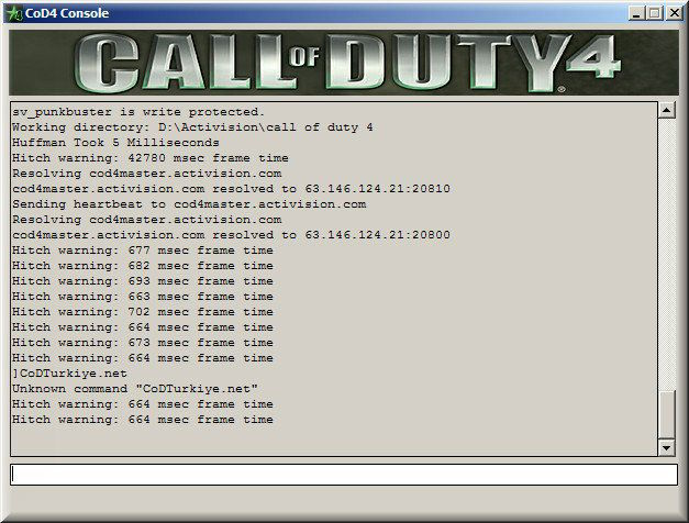 Call of Duty 4 Server Console