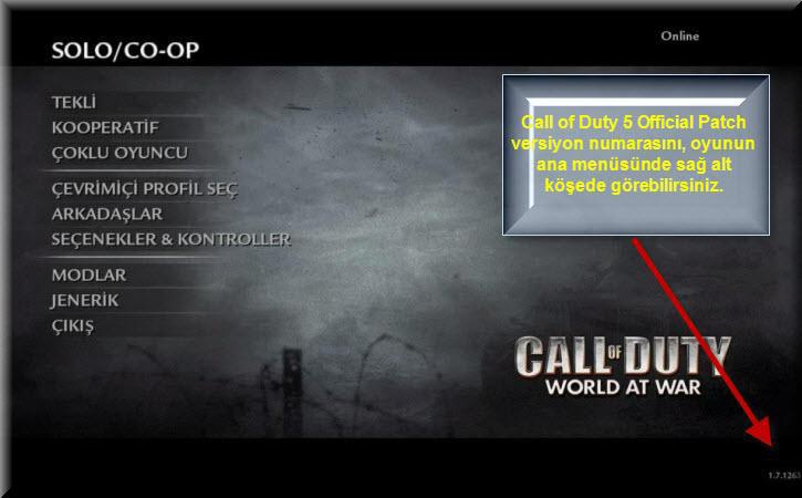Call of Duty 5 World at War Türkçe Yama