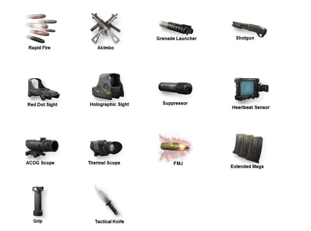 Call of Duty 6 Modern Warfare 2 Silahları Attachments