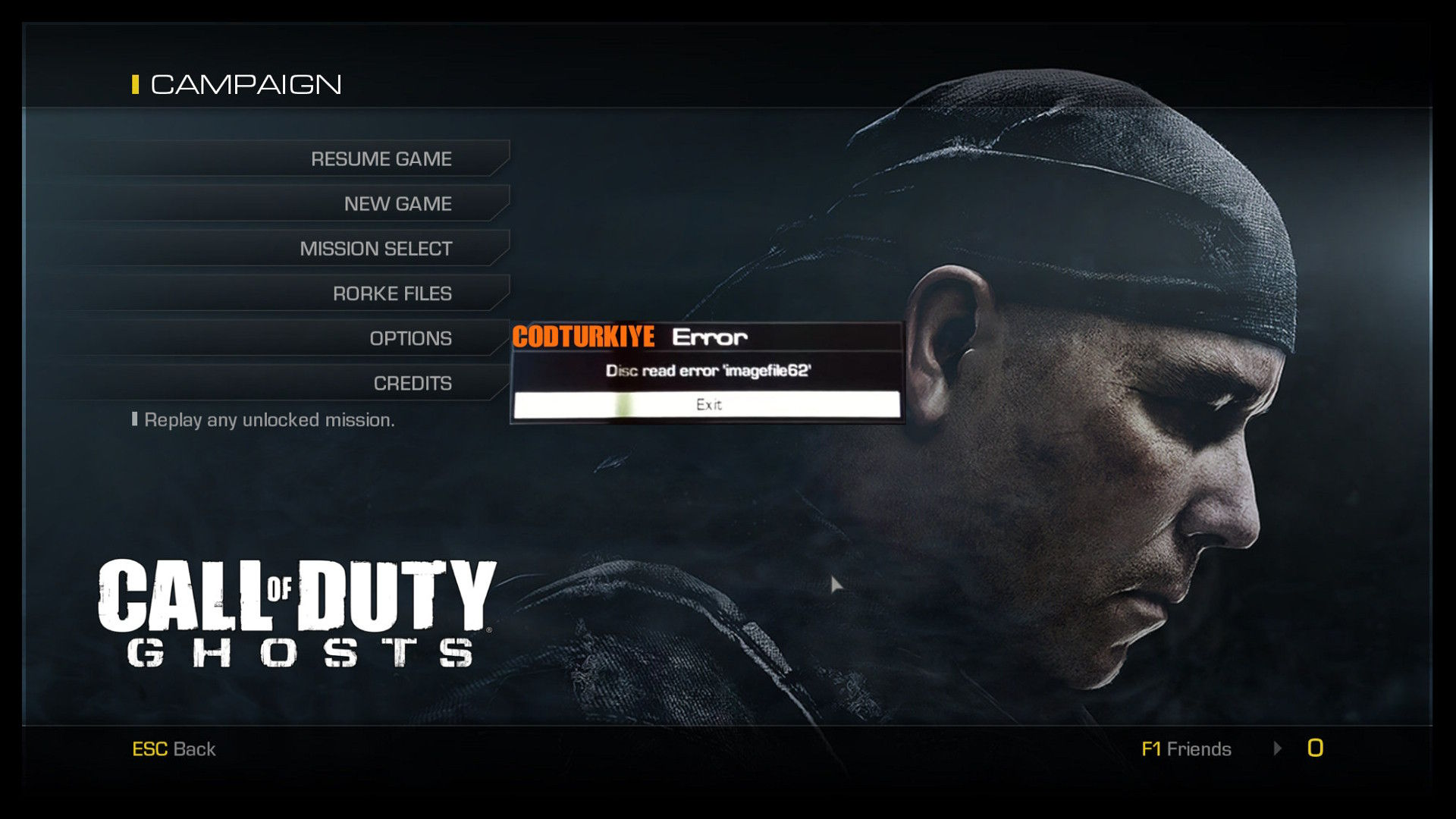 Call of Duty Ghosts Disc Read Error