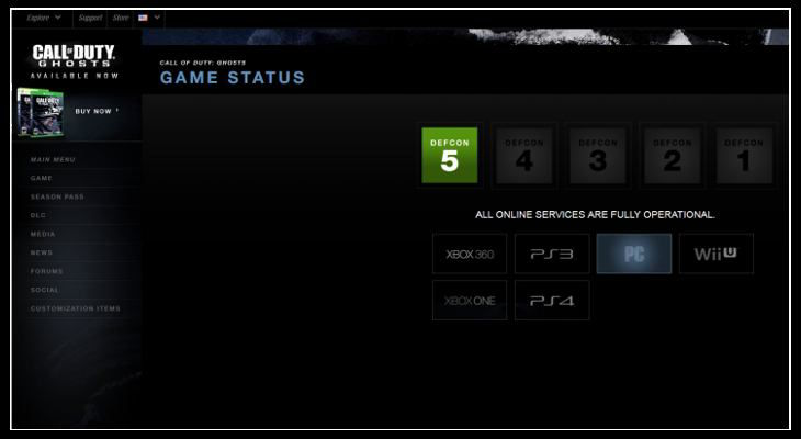 Call of Duty Ghosts Game Status Defcon