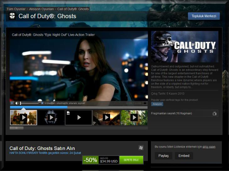 Call of Duty Ghosts İndirim