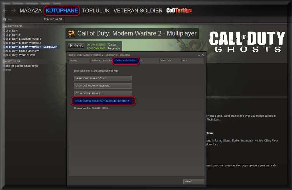 Call of Duty Ghosts Çalışmayı Menu Content Not Available Hatası Oyun Önbelleğinin Bütünlüğünü Doğrula
