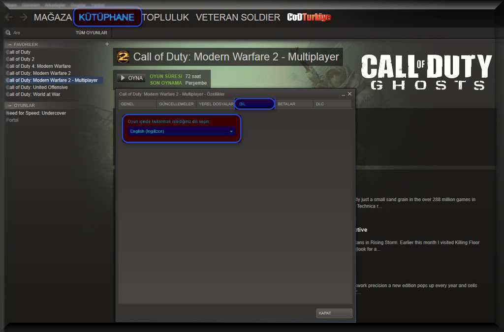 Call of Duty Ghosts Çalışmayı Menu Content Not Available Hatası Dil Ayarı