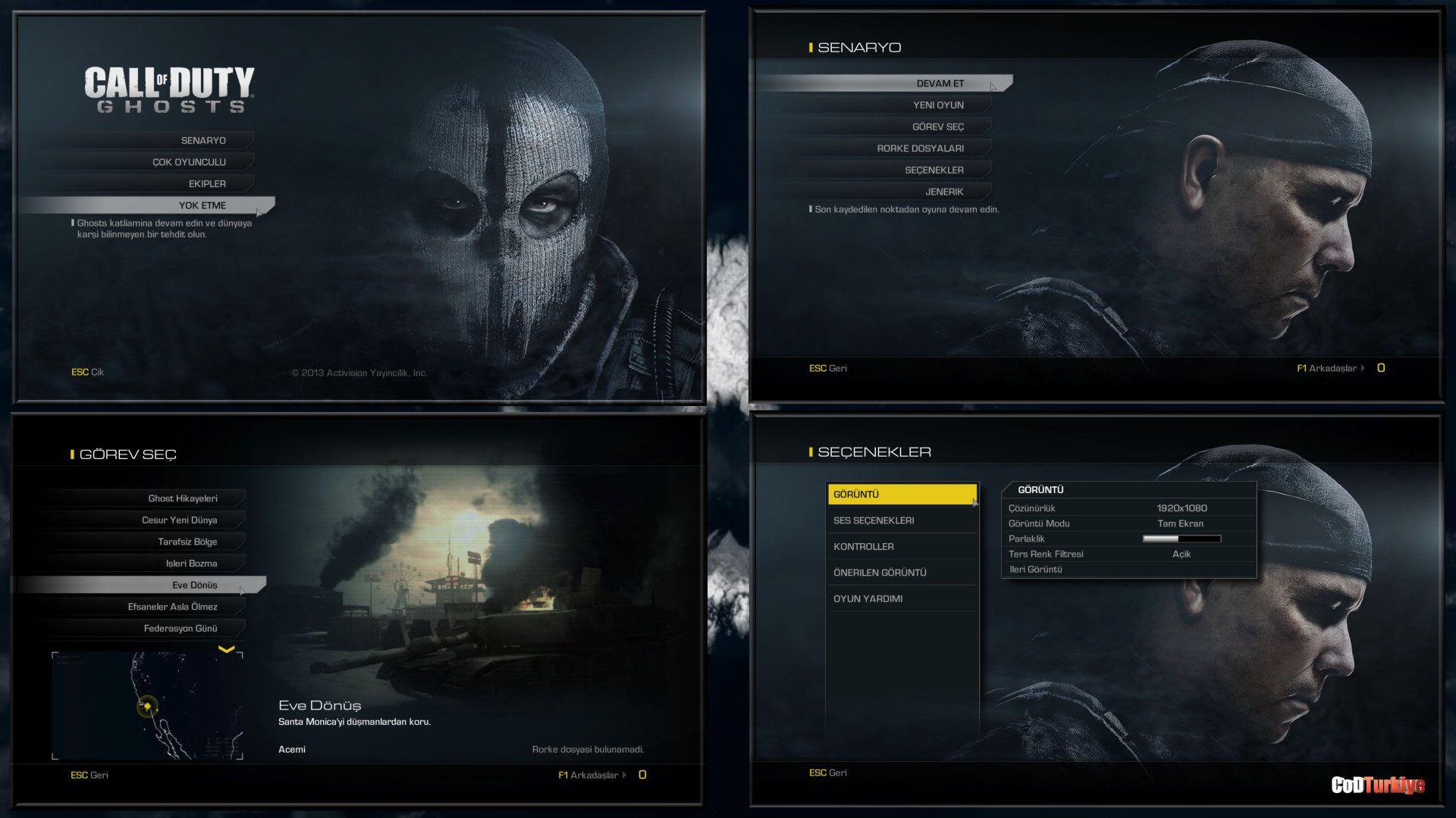 Call of Duty Ghosts Türkçe Yama Menuler
