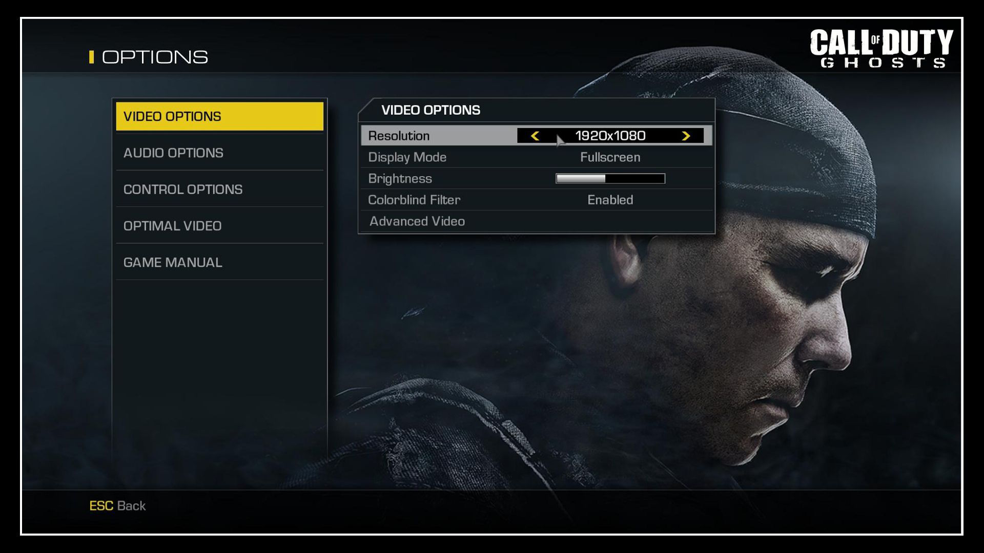 Call of Duty Ghosts Video Options 1920x1080 Sorunu