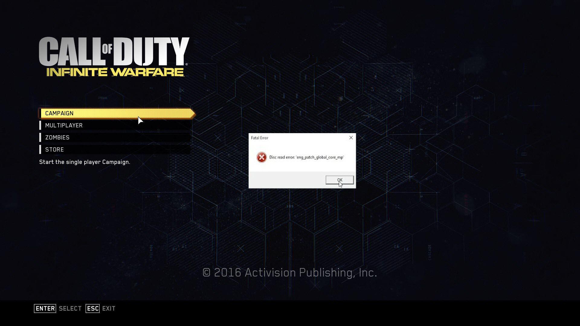 Call of Duty Infinite Warfare Disc Read Error: Eng_patch_global_core_mp