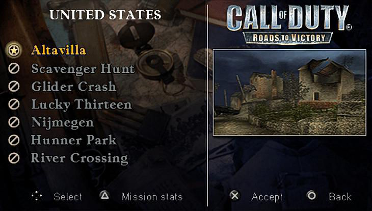 Call of Duty Roads to Victory Main Menu Missions