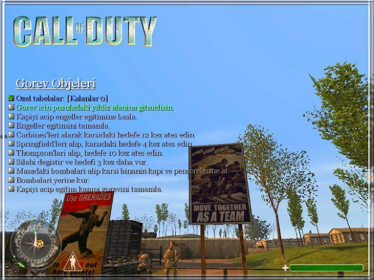 Call of Duty Türkçe Yama Görev Tab Menü