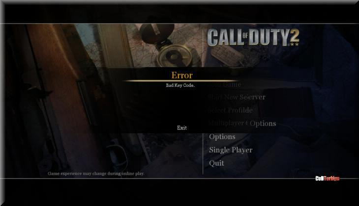 CoD2 Bad Key Code