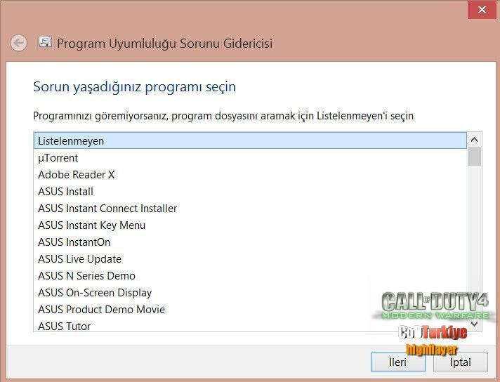 CoD 4 Windows 8 Hatası ve Çözümü
