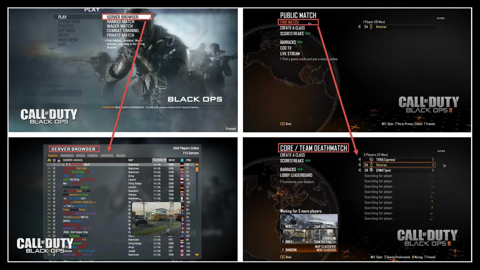 Black Ops Server Browser, Black Ops 2 Find Match