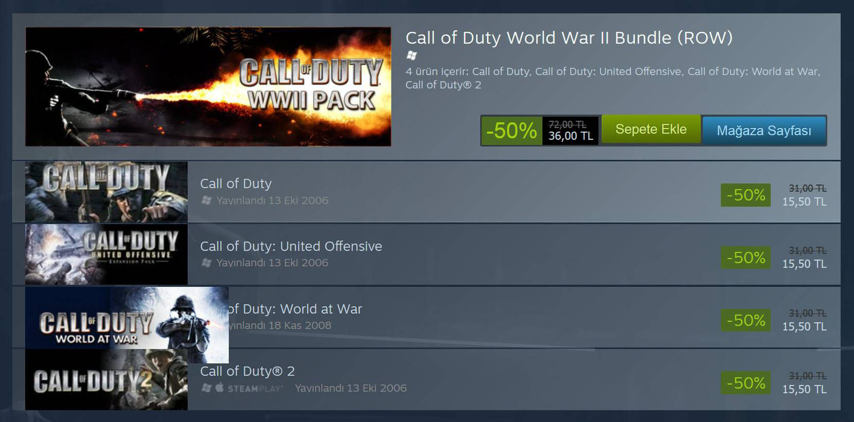 Call of Duty İndirim Kampanyası