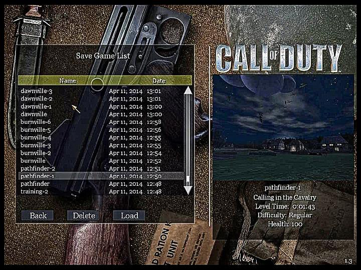 Call of Duty Load Save Game