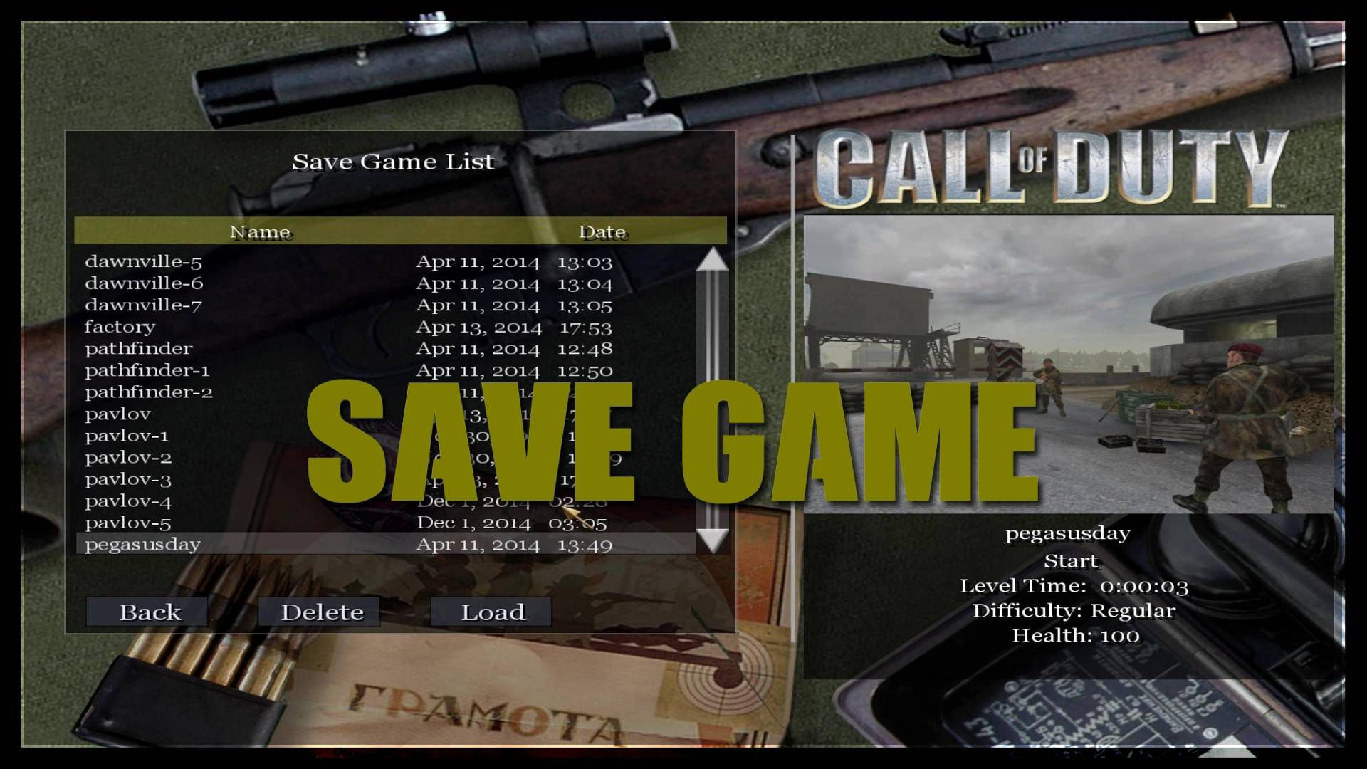 Call of Duty Save Game