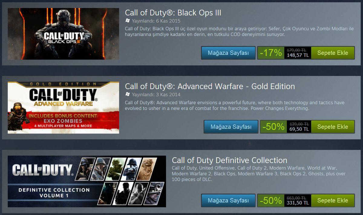 Call of Duty Serisi İndirim Kampanyası