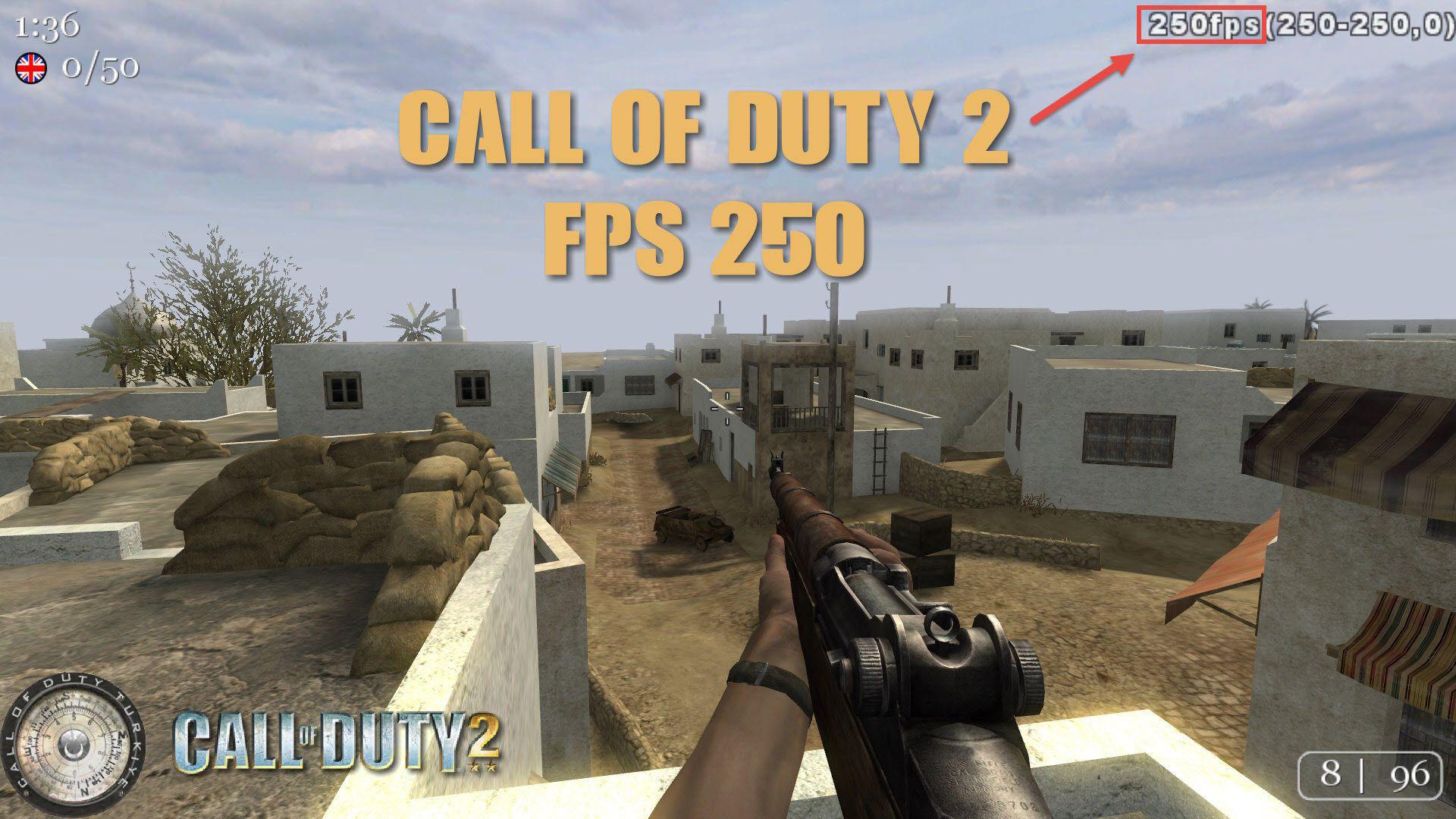Call of Duty 2 FPS Ayarı Yapılmış 1920x1080 Ekran Çözünürlüğündeki Oyuna Ait Görüntü
