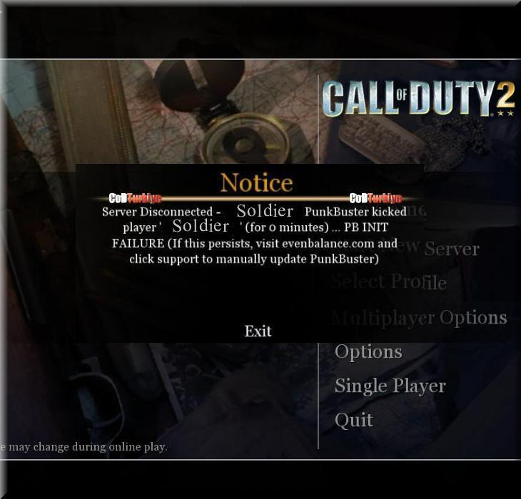 Call of Duty 2 PB Init Failure Hatası