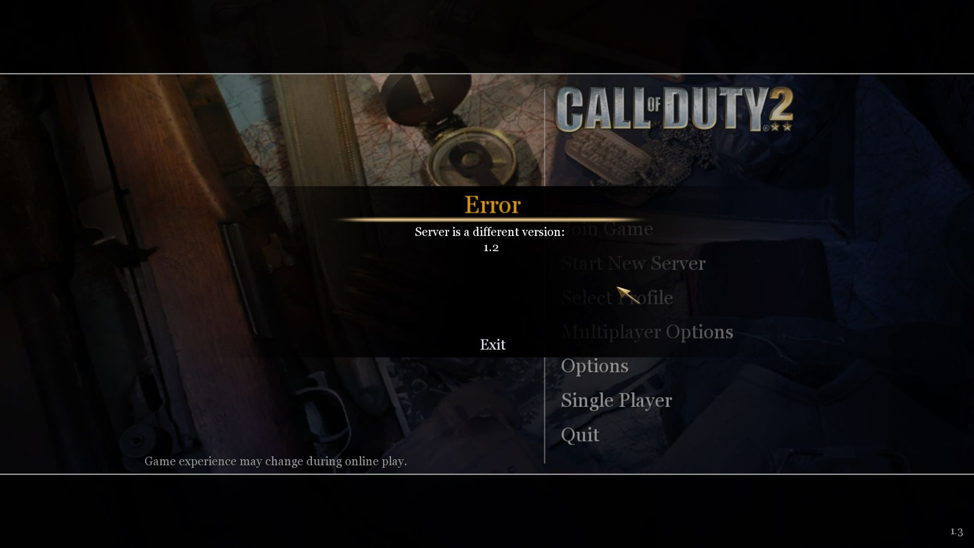 Call of Duty 2 Server is a Different Version Hatası