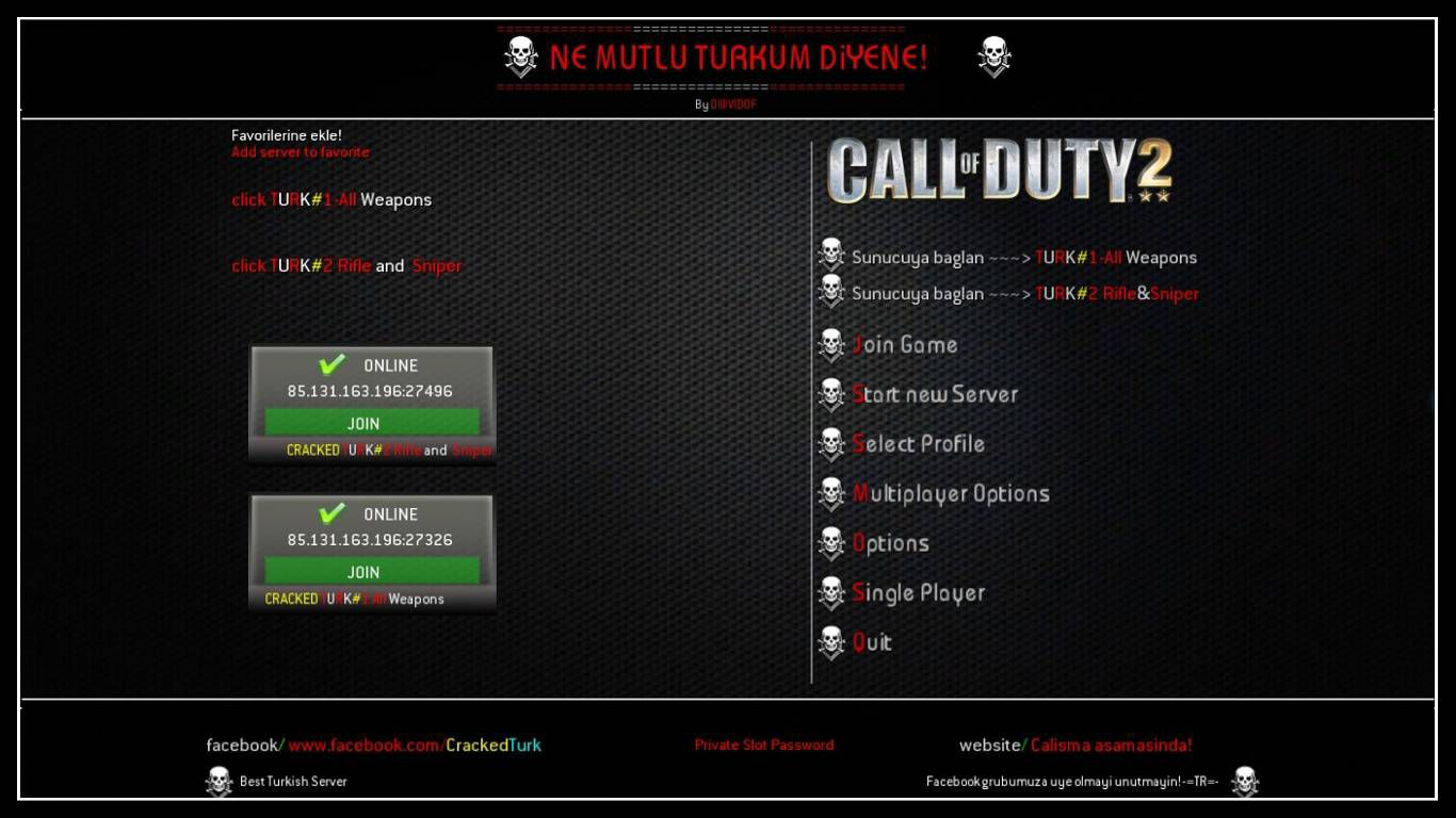 Call of Duty 2 server menu sorunu