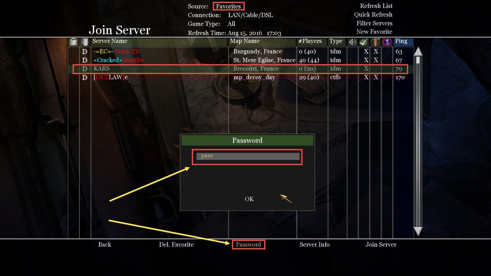 Call of Duty 2 Şifreli Sunucuya Girmek