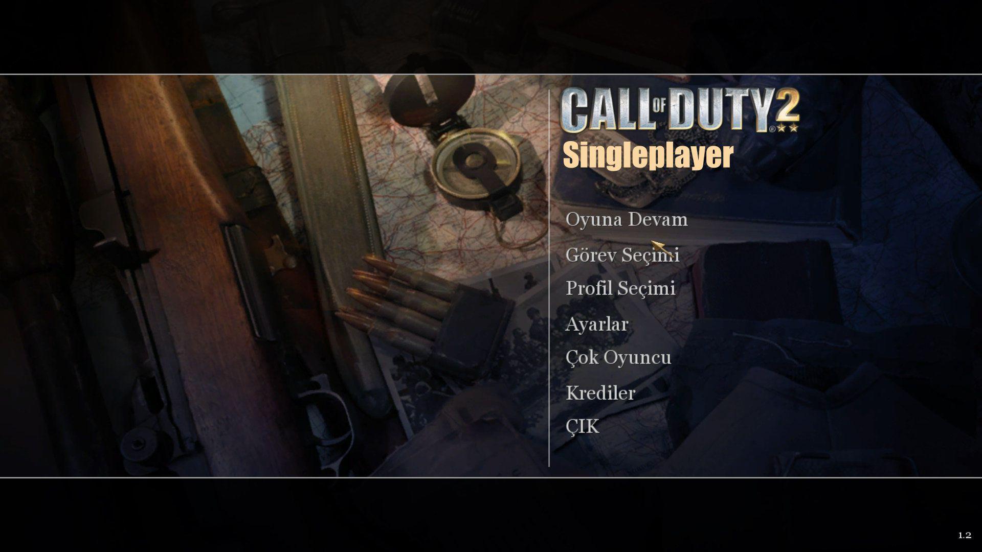 Call of Duty 2 Türkçe Yama Singleplayer Ana Menü