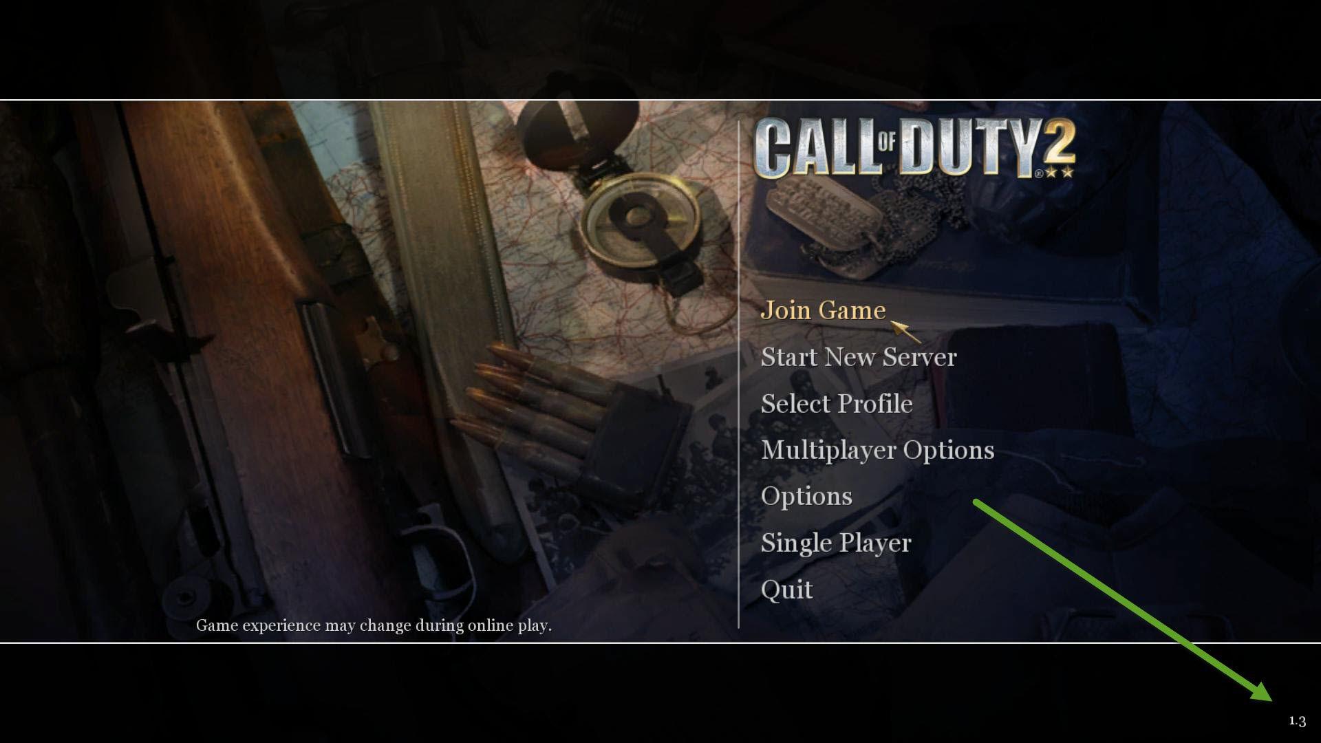 Call of Duty 2 Versiyon Numarası Bulmak