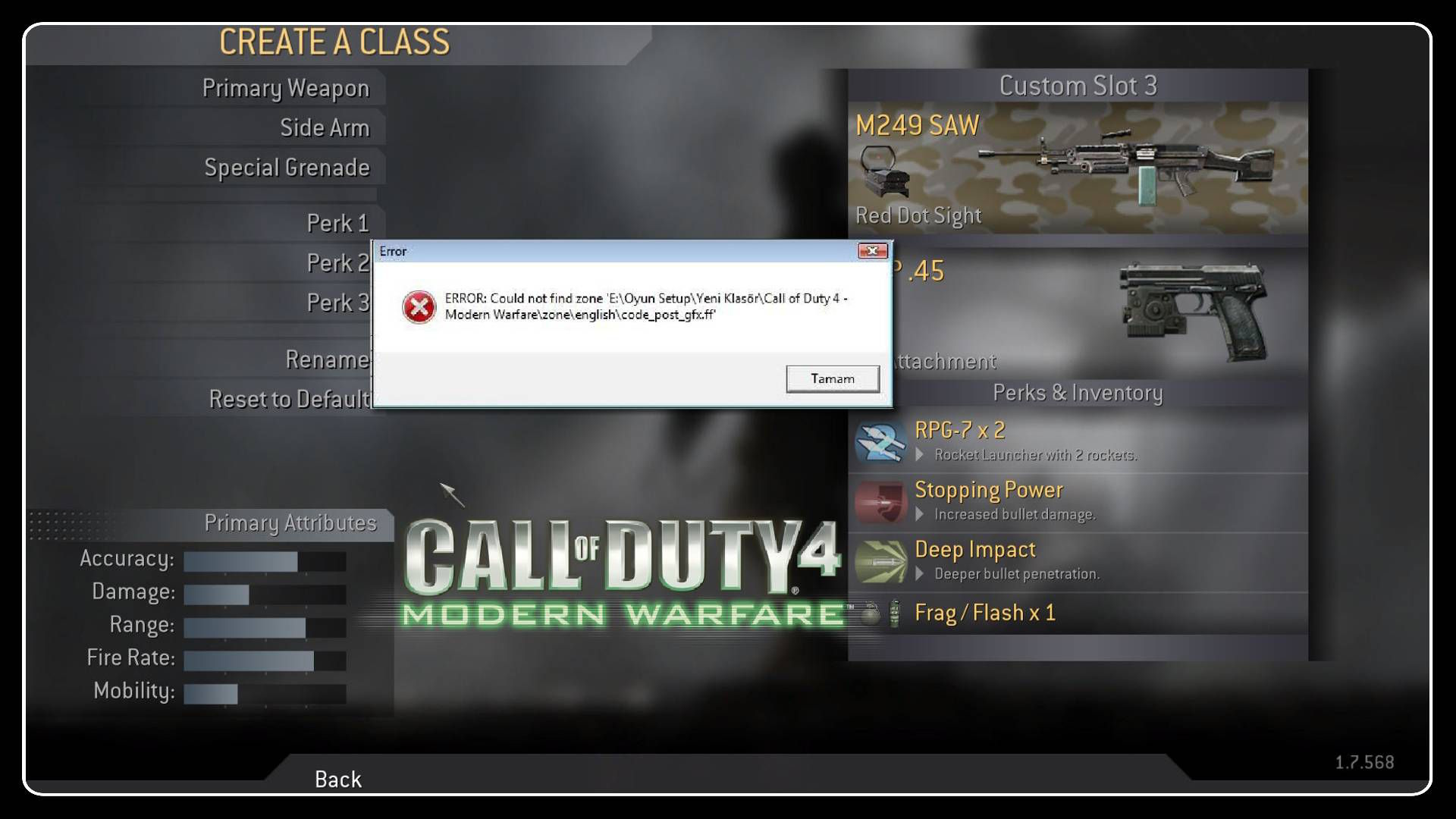 Call of Duty 4 code_post_gfx.ff ve code_post_gfx_mp.ff Hataları