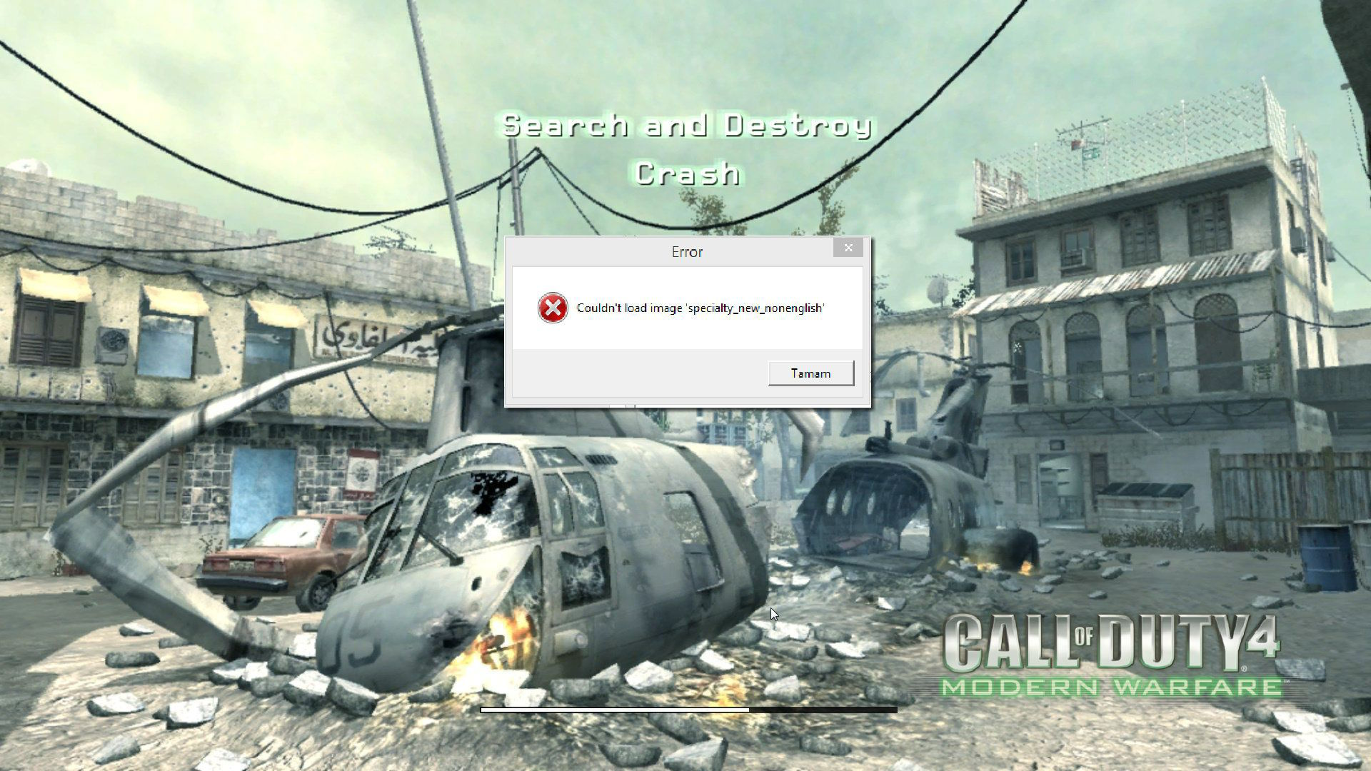 Call of Duty 4 Couldn't load image specialty_new_nonenglish Hatası