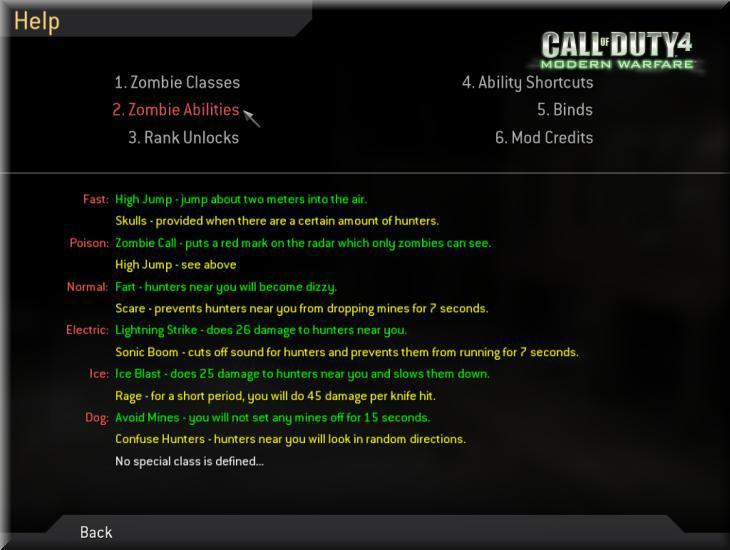 Call of Duty 4 Dobbys Zombie Mod Manual-El Kitabı Abilities