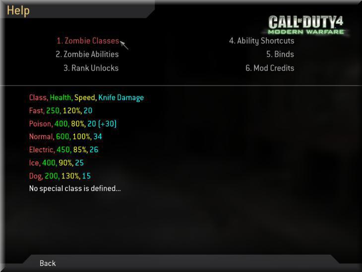 Call of Duty 4 Dobbys Zombie Mod Manual-El Kitabı Classes