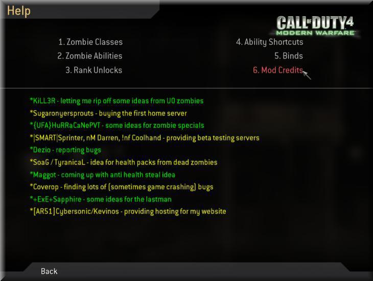 Call of Duty 4 Dobbys Zombie Mod Manual-El Kitabı Credits