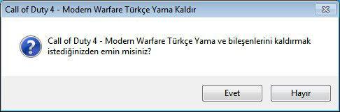 Call of Duty 4 - Modern Warfare Türkçe Yama Uninstall