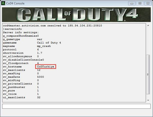 Call of Duty 4 Start Console