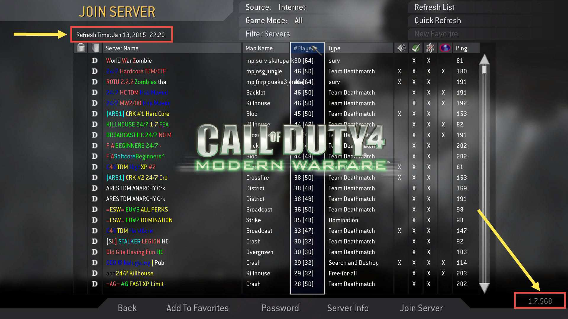 Call of Duty 4 Server List Error