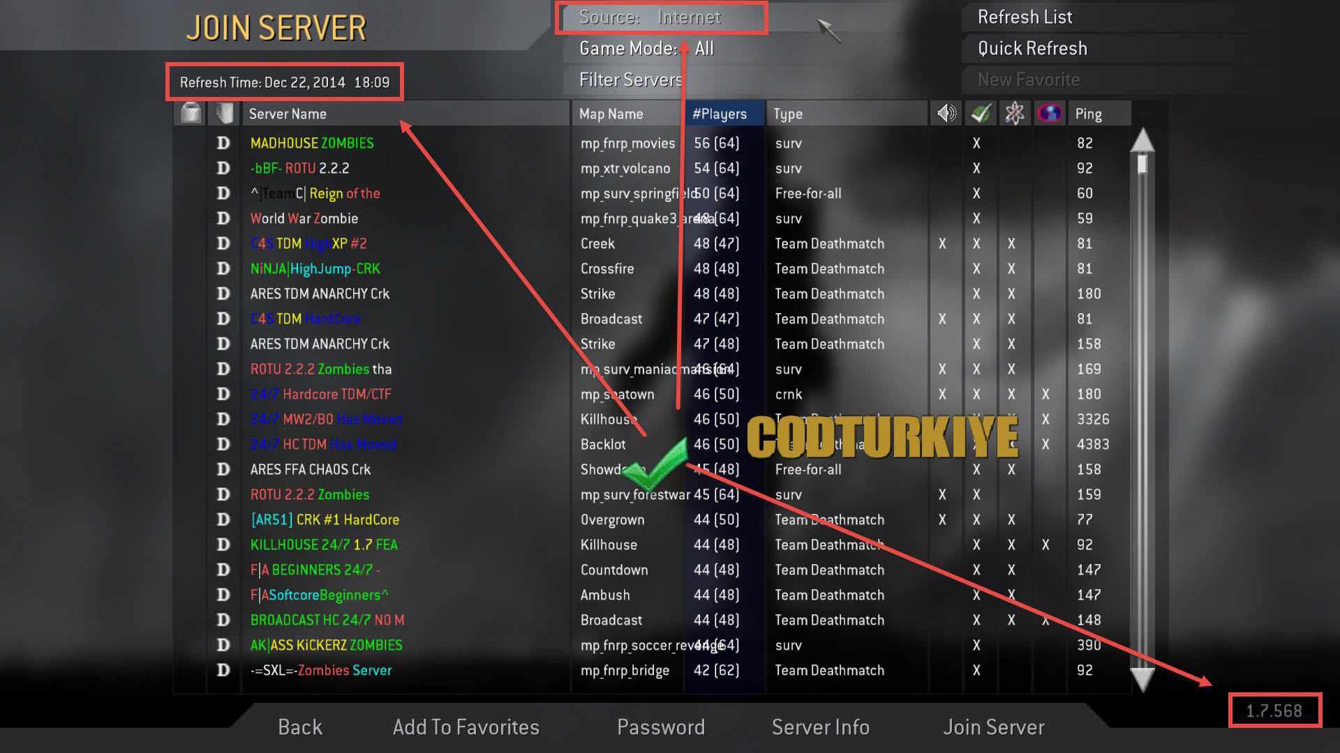 Call of Duty 4 Server Listesi Görünmüyor